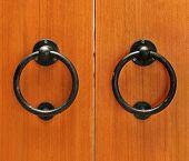 picture of wooden door  - classic wooden door with handle - JPG