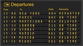 Departure board - destination airports. Vector illustration. poster