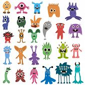 Постер, плакат: Cartoon Monsters Big Set Colorful Toy Monster Cute Monster Monster Flat Monster Alien Monster K