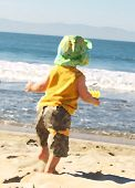 Toddler Walking On The Beach