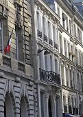 French Architecture With Flag poster