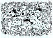 ������, ������: Vector Illustration Of Monsters And Cute Alien Friendly Cool Cute Hand drawn Monsters