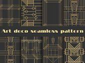 Art Deco Seamless Patterns. Art Deco Geometric Seamless Pattern. Set Retro  Backgrounds. Style 1920 poster