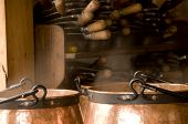 Copper Cookers With Steaming Food