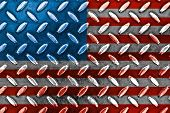 American Flag On A Diamond Metal Texture