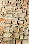 pic of pavestone  - background of old beige different colored pavestones - JPG