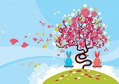 Rabbits playing during the lovely blossom of the spring.