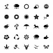 Icon Set Of Environment Signs. Weather, Climate, Flora And Fauna. Ecology Concept. For Topics Like N poster
