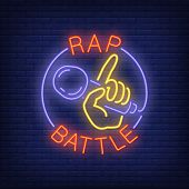 Rap Battle Neon Text And Hand Holding Microphone. Neon Sign, Night Bright Advertisement, Colorful Si poster