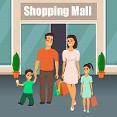 Family With Children Getting Out Of The Shopping Center With Shopping Bags In Hand. Mom, Dad, Son An poster