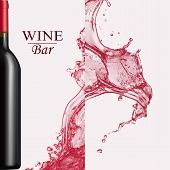 Advertising Wine Bar Page, Wine Presentation Brochure. Vector Illustration Of A Dark Bottle Of Red W poster