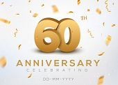 60 Anniversary Gold Numbers With Golden Confetti. Celebration 60th Anniversary Event Party Template. poster