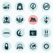Religion Icons Set With Prayer, Azan, Scripture And Other Kerchief Elements. Isolated Vector Illustr poster