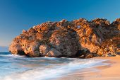 picture of azov  - Beautiful rock on the Sea of Azov shore at the sunset - JPG
