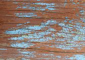 Old Blue Board With Cracked Paint, Vintage Wood Background, Grunge Plank. Old Wooden Background With poster