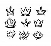 Vector Crown Logo. Hand Drawn Graffiti Sketch And Signs Collections. Black Brush Line Isolated. poster