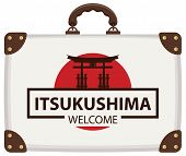 Vector Travel Banner With Suitcase In Colors Of Japanese Flag With The Famous Torii Gate, The Ritual poster