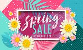 Sale Spring Banner. Trendy Texture. Season Vocation, Weekend, Holiday Logo. Spring Time. Happy Sprin poster