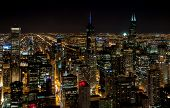 Chicago Skyline Top View With Illuminated Skyscrapers By Night, Illinois, Usa poster