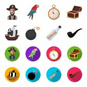 Pirate, Bandit, Ship, Sail .pirates Set Collection Icons In Cartoon, Flat Style Vector Symbol Stock  poster