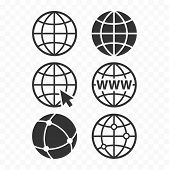 World Wide Web Concept Globe Icon Set. Planet Web Symbol Set. Globe Icons For Websites. poster