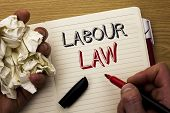Handwriting Text Labour Law. Concept Meaning Employment Rules Worker Rights Obligations Legislation  poster
