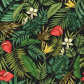 Botanical Seamless Pattern With Foliage Of Exotic Jungle Plants On Black Background. Backdrop With L poster