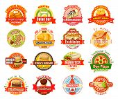 Fast Food Label Set Of American, Mexican And Asian Cuisine. Burger, Hamburger And Pizza, French Frie poster