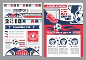 Soccer Sport Stadium Poster For Football Championship Match. Football Sport Club Banner With Heraldi poster