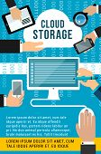 Cloud Storage Technology Banner With Computer Device. Computer, Tablet Pc And Mobile Phone Connected poster