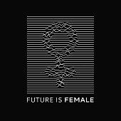 Fashion Slogan Future Is Female. Feminist Slogan, Roath Lines, Design T-shirt Print Or Embroidery, P poster