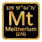 Periodic Table Element Meitnerium Icon On White Background. Vector Illustration. poster