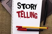 Writing Note Showing  Story Telling. Business Photo Showcasing Tell Or Write Short Stories Share Per poster