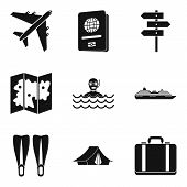 River Recreation Icons Set. Simple Set Of 9 River Recreation Vector Icons For Web Isolated On White  poster