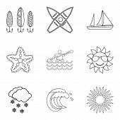 Water Vital Icons Set. Outline Set Of 9 Water Vital Vector Icons For Web Isolated On White Backgroun poster