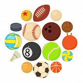 Sport Balls Icons Set Play Types. Cartoon Illustration Of 16 Sport Balls Play Types Vector Icons For poster