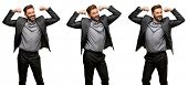 Middle age man, with beard and bow tie showing biceps expressing strength and gym concept, healthy l poster