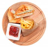 Club Sandwich Top View. Club Sandwich And Fries Isolated poster