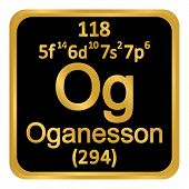 Periodic Table Element Oganesson Icon On White Background. Vector Illustration. poster