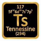 Periodic Table Element Tennessine Icon On White Background. Vector Illustration. poster