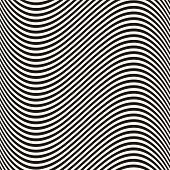 Curved Wavy Lines Seamless Pattern. Vector Texture With Black And White Waves, Thin Stripes. Dynamic poster