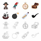 Pirate, Bandit, Ship, Sail .pirates Set Collection Icons In Cartoon, Outline Style Vector Symbol Sto poster