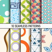 Set Of Ten Seamless Patterns. Abstract Geometrical Trendy Vector Color Backgrounds. Fashion Design.  poster