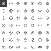 Gear Outline Icons Set. Linear Style Symbols Collection, Line Signs Pack. Vector Graphics. Set Inclu poster