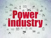 Industry Concept: Painted Red Text Power Industry On Digital Data Paper Background With  Hand Drawn  poster