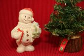 Snowman Smiling At Christmas Tree
