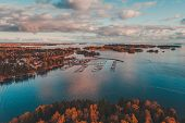 Nuottaniemi Marina With Boats On Pier And On Land Being Stored, Espoo Finland poster