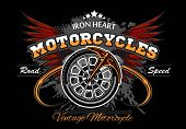 Wheel And Wings - Motorcycle Wheel Vector Illuastration On Black poster
