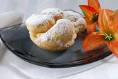 pic of cream puff  - A delicious cream filled pastery on a plate - JPG