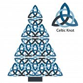 Celtic knot christmas tree - blue colors